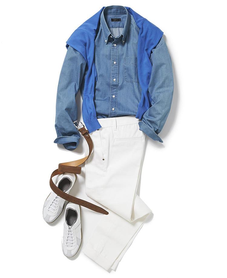 <b><font color='red'>麻布テーラー</font><br />子どもも鼻高々! 今どきパパのきれいめカジュアル決定版</b><br />デニムの上下は休日の定番だが、配色次第では学生風に見えたり、男くさくなりすぎたりすることも。<br />「休日はジャケットを着ない分、襟付きのシャツで大人の品格を維持します。ブルーのシャツと白いスラックスはともにデニム素材ですが、爽やかな配色でまとめているので、どんな場所や店でも恥ずかしくありません。またベルトもスニーカーといった小物もレザーで品格キープ。さらに冷房よけや避暑地で過ごす場合に、コットンニットがあると重宝します。こんな格好いいパパなら、お子さんもきっと鼻が高いことでしょう」(プレス篠塚 剛さん)<br /><a class='u-link--ex' href='https://www.mens-ex.jp/fashion/feature/190727_11536.html' target='_blank'>コーディネートの詳細はこちら</a>