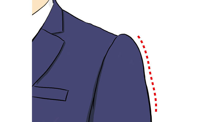 <strong><span style='background-color:#f00'>肩から腕の滑らかなライン</span>を保ち余裕のある佇まいに</strong><br />「肩先から腕へ降りていくラインが滑らかなら、肩回りに適度なゆとりが保てます。<br />腕を回したときにも十分な可動域が確保されており、見た目にも窮屈感がなく佇まいに余裕があるように見せられます」