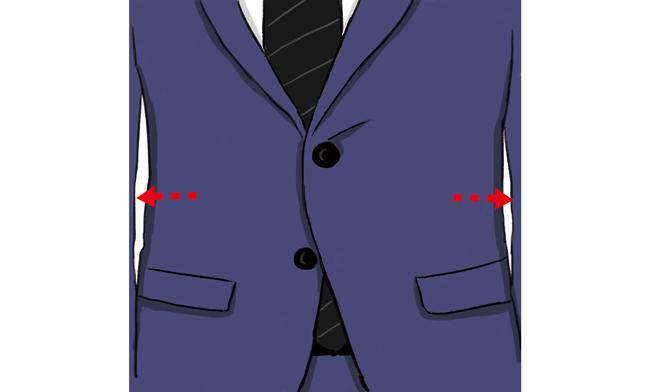 <strong>タイトJKの<span style='background-color:#f00'>ドロップ差に+1〜2cm</span>で脱若者フィッティング</strong><br />「X皺が出ていたり、ウエストをシェイプしすぎていると感じたら、今のドロップ差に1〜2cmほどプラスになるように身幅を出してみましょう。<br />ウエストを絞り過ぎないことで貫禄のある装いを保てます」