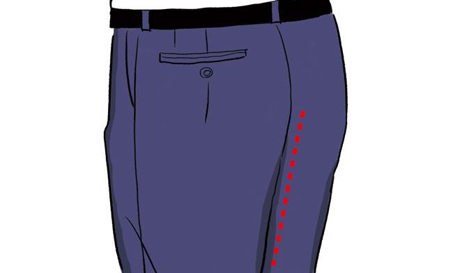 <strong><span style='background-color:#f00'>程良い渡り幅のパンツシルエット</span>でお尻の贅肉をカバー</strong><br />「お尻の形を隠すには、細いパンツでスリムに見せようとするより、パンツ自体のシルエットでカバーする方が効果的。<br />渡り幅をしっかりとることでパンツにお尻からきれいに落ちるラインを見せられます」
