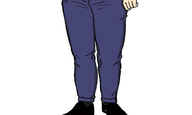 <strong>美脚とは逆効果な<span style='background-color:#f00'>クリースが消えるほどの細パンツ</span></strong><br />「足を綺麗に見せようと細いパンツを穿く方がいますがそれは却って逆効果。<br />足がパツパツだと穿いていてすぐにクリースが取れてしまい、美しいパンツシルエットを損ないます」