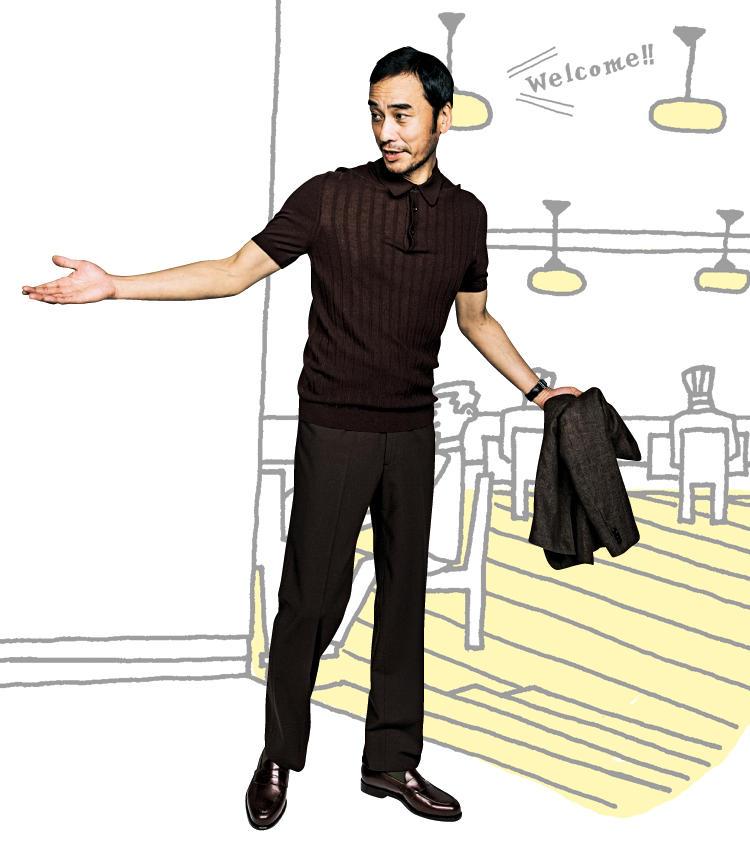 <strong>渋さで勝負のブラウントーン</strong><br />装いに貫禄も生まれる茶×ニットのコンビ。女性クライアントとの会食。ダークブラウンでまとめれば、レストランという落ち着いた空間にも馴染む。強撚糸を使ったニット地ならば、さらに年相応の貫禄も見せられる。<br /><span style='font-size:0.8em;'>ポロシャツ2万9000円/グランサッソ(エスディーアイ) パンツ3万2000円/ベルナール ザンス(伊勢丹新宿店) ジャケット12万5000円/ルイジ ボレッリ(ルイジ ボレッリ東京店) 靴2万8000円/バーウィック(ユニバーサルランゲージ 渋谷店)</span>