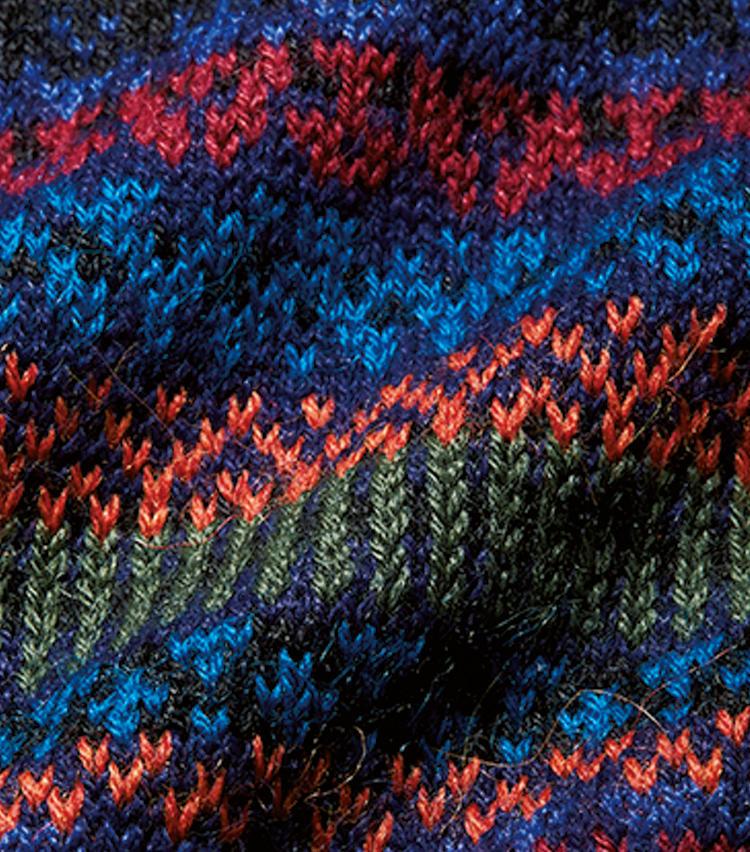 <span style=font-size:1.1em;><strong>手間はかかるが味わい満点な編み</strong></span><br />ウールより柔らかなアルパカの魅力を最大限引き出すハンドフレーム。人の手が多く介在するため編みの表情も温かみのあるものに。