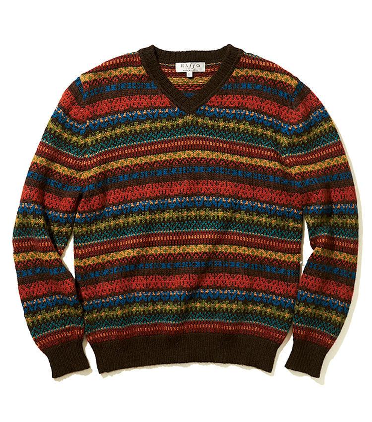 ペルーの伝統的編み柄をフェアアイル風にアレンジした、ベビーアルパカ100%のニット。