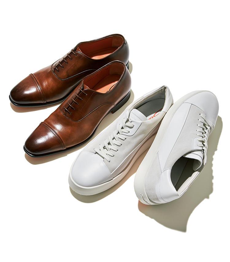 <span style=font-size:1.1em;><strong>サントーニのドレス靴&スニーカー</strong></span><br /><strong>《名作になった年…平成10(1998)年ごろ》</strong><br><br><strong>イタリア靴の魅力はこれを履けばわかる</strong><br>卓越した企画力で何度も大ブームを起こし、今やイタリア靴の代表格に。左:ムラ染めを施したアッパーと、ドレッシーなシングルソールがエレガント。マッケイ製法。12万8000円、右:高級レザースニーカーの草分けでもあるサントーニ。こちらは白の異素材コンビで、履き口の踵部分にクッションを仕込むなど履き心地も極上。7万2000円(以上リエート)