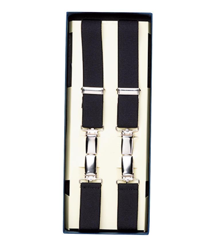 <strong>サスペンダー / Suspender</strong><br>タキシードパンツにはベルトループがなくサスペンダーは必須。背中で交差させ前2点、後2点で留めるのが一般的。1万円/アルバート サーストン(フェアファクスコレクティブ)