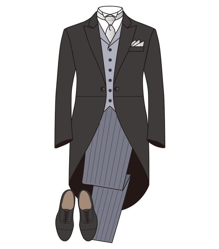 <strong>【正礼装】《昼》モーニング</strong><br>国家式典など、最も格式高い場に参列する時に着用する昼の礼装。モーニングコートに縞柄パンツ、ベスト、シルバータイが一般的だ。