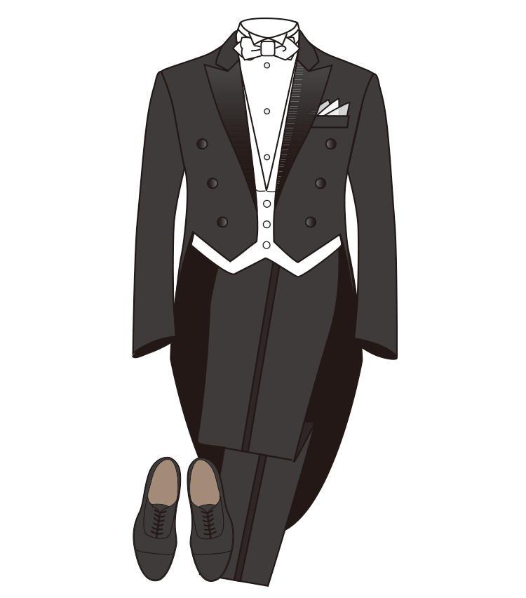 <strong>【正礼装】《夜》テイルコート</strong><br>燕尾服とも呼ばれる、夜の最礼装。「ホワイトタイ」がこれ。上衣は拝絹付きで、プリーツなしのイカ胸シャツを着る。