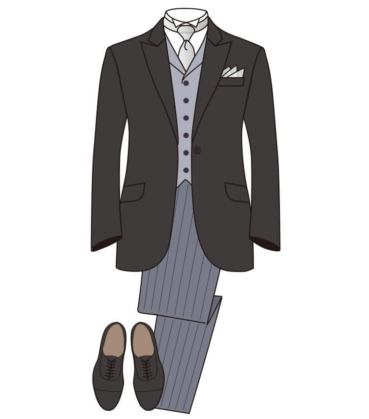 <strong>【準礼装】《昼》ディレクターズスーツ</strong><br>黒、濃紺、濃グレーの上衣に縞柄のパンツ、ベスト、シルバータイをセットした装い。結婚式の主賓や媒酌人が着用することが多い。