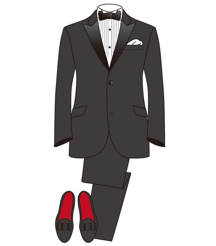 <strong>【準礼装】《夜》タキシード</strong><br>「ブラックタイ」と書かれた招待状を受けとったら、必ずタキシードを着用する。プリーツ入りのウイングカラーシャツに黒のボウタイが必須。