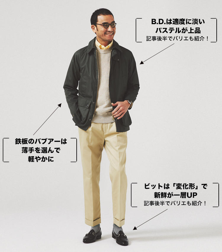 <strong>休日の正統派カジュアルを足元ビットの艶気でハズす</strong><br /> <span style=