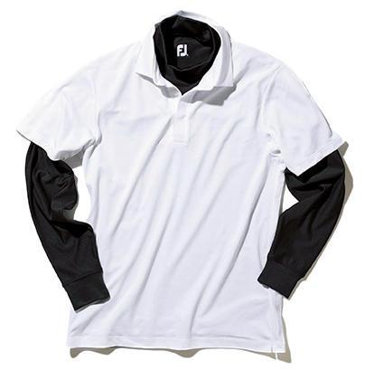 ゴルフ場でよく見かけるベースレイヤーの袖出しスタイルは、下着の袖が露出しているかのように見えるため、禁止しているゴルフ場も。組み合わせる場合は、事前にきちんと確認を。</br></br>インナー7000円/フットジョイ(アクシネット ジャパン インク) ポロシャツ〈スタイリスト私物〉
