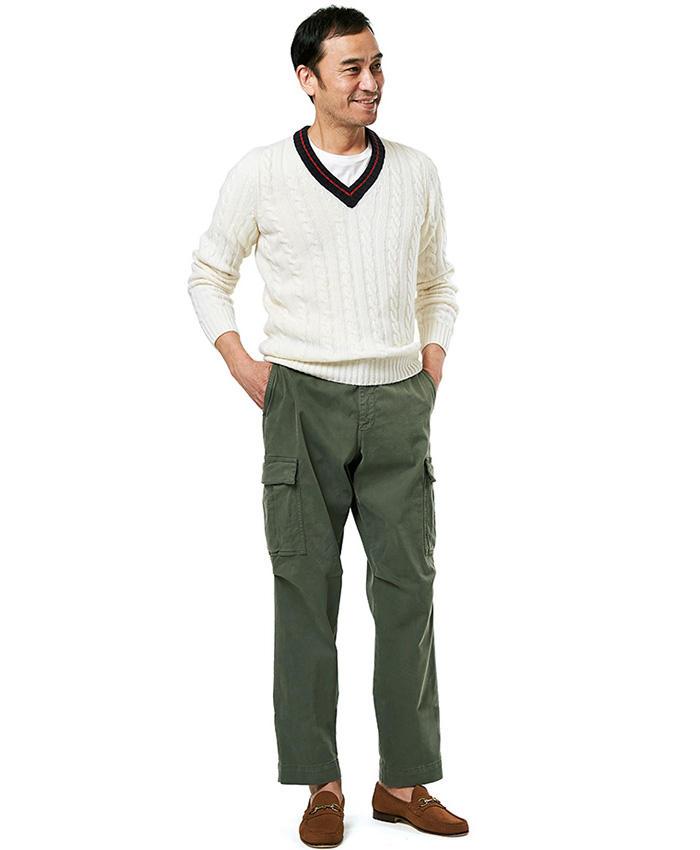 <span style='font-size:1.1em;'><strong>Military Pants Style</strong></span><br />「かつてはインナーに襟付きシャツを合わせるのが一般的でしたが、今は白無地のTシャツを合わせるスタイルも増えています。パンツは昨シーズンから継続して注目のワイドな軍パンで寛いだ雰囲気に。」<br><span style='font-size:0.8em;'>ニット3万8000円/ザノーネ、パンツ2万8000円/ベルウィッチ、靴3万3000円/イル モカシーノ、Tシャツ〈スタイリスト私物〉</span>