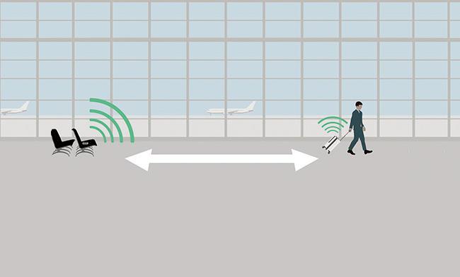 TrackRチップが内蔵されており、スマホとラゲージが一定距離空くとアラートが鳴り、専用のアプリで最新の位置情報も調べることができる。