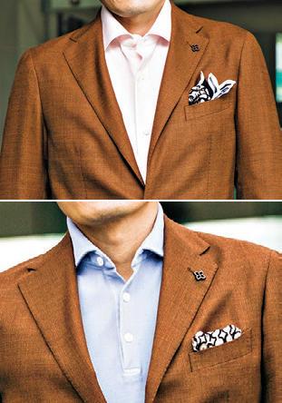<span style='font-size:1.1em;'><strong>【After】</strong></span><br />ブラウンをシックにしすぎると、地味になりすぎて、いわゆるオジサンぽさが出てしまうことも。「淡いピンクやブルーなど、実はビジネスにも馴染む明るい色をシャツやポロシャツで取り入れることを提案します。そしてノータイのときこそぜひチーフは挿して欲しいですね」(森岡さん)