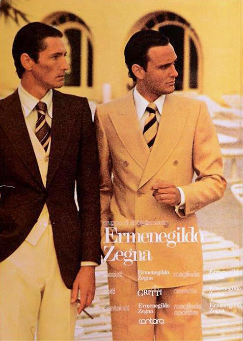 エルメネジルド ゼニアが自社で出していた「TOP」と呼ばれるマガジンの1975年当時の頁。服だけではなく男の生き方、生き様を表現するビジュアルを当時から追求していた。