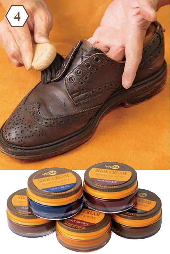 <b>手順4:靴クリームをブラシで塗る</b> 「靴磨きクリームをブラシに少量とり、塗り伸ばしていきます。小さいブラシが塗りやすく◎」<br><b>クリーム選びのポイントは?</b> 「染料系と顔料系がありますが、色の浸透、定着性、透明感に優れた染料系が◎。上のクリームは日本の気候に合わせて成分を調整し、より美しいツヤを引き出します。茶系だけで12色展開と、色にもこだわりアリ」各800円/ヴィオラ(ジュエル)