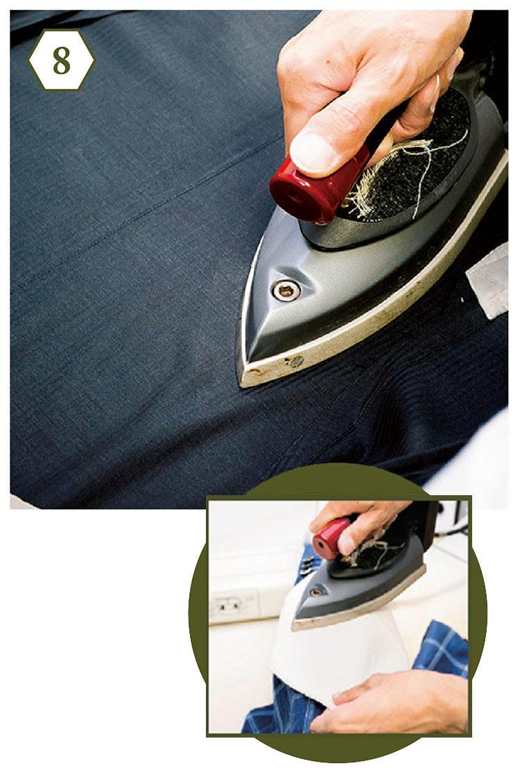 <b>手順8:ベントを処理して上着は完了</b> 「最後にベント部分のシワ伸ばし。ここも裏側からアイロンをかけて、生地を労りましょう」<br><b>素材ごとの適温を守って</b> 「リネンやシルクなどを織り交ぜた素材は、低温(120〜140度)でアイロンがけすると生地を傷めません」