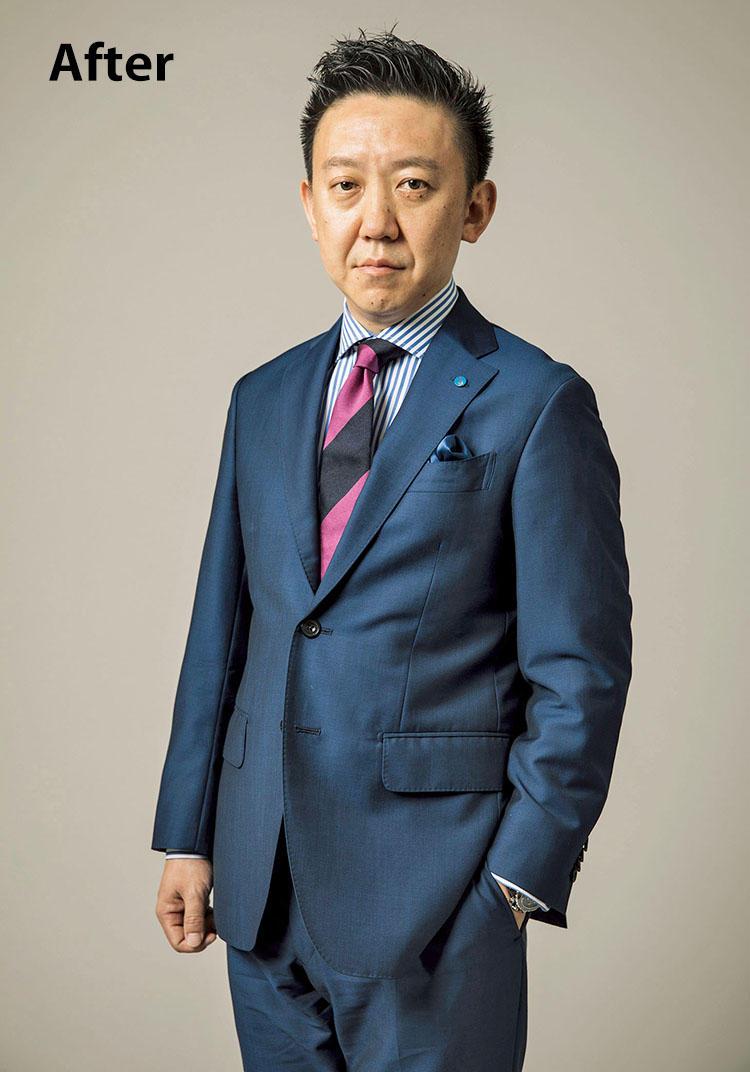 <b>「表情が若々しくなり、プレゼン力がアップ!」</b> 色数は絞りつつもひとつひとつの彩度が高いため、Vゾーンが際立ち、精悍な印象に。スーツはBeforeと同じ。タイ1万4000円/ニッキー(エディフィス 渋谷) シャツ、チーフ〈スタイリスト私物〉