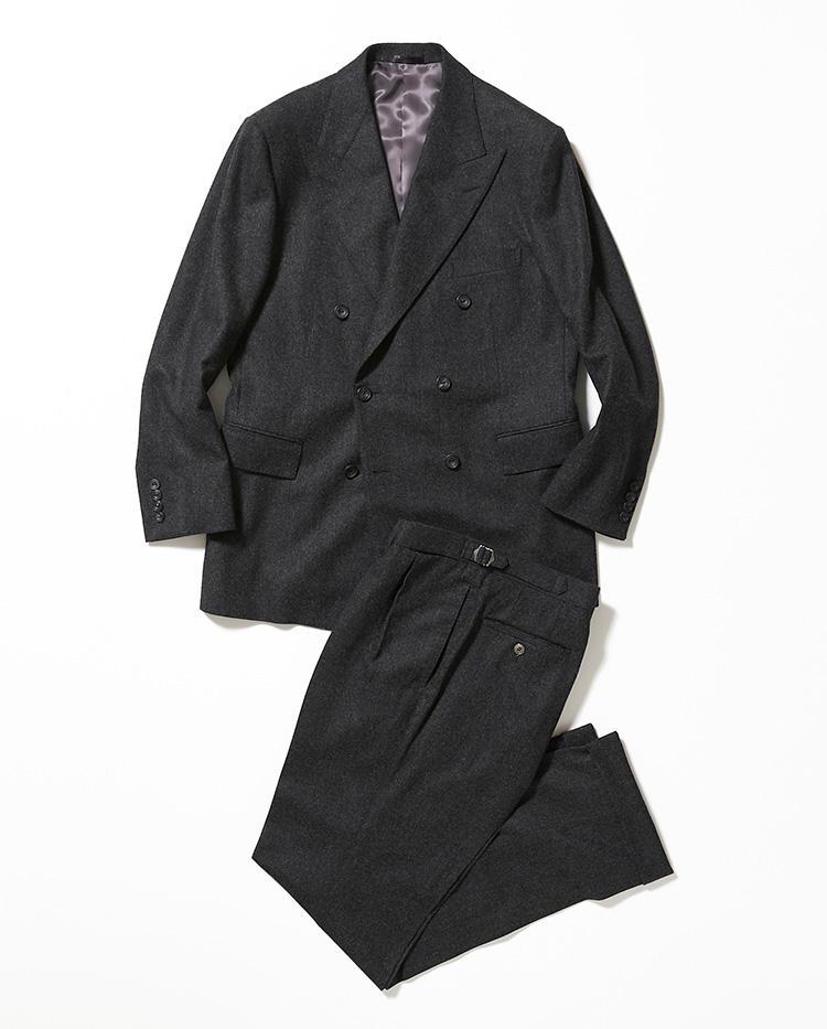 <b>3.リッドテーラーのグレーダブルスーツ</b><br />英国マーリン&エヴァンスの生地を使用した、東京・西荻窪の名店のダブルスーツ。英国風味を日本仕様のフィッティングで味わえる。21万5000円〈オーダー価格〉(伊勢丹新宿店)*パンツのみは7万3500円〜
