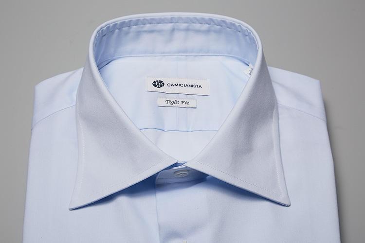 <b>【セミワイド】</b><br />ビジネススタイルはもちろん、TPOを問わずにオールオケージョンで着られる、オーセンティックな襟型。