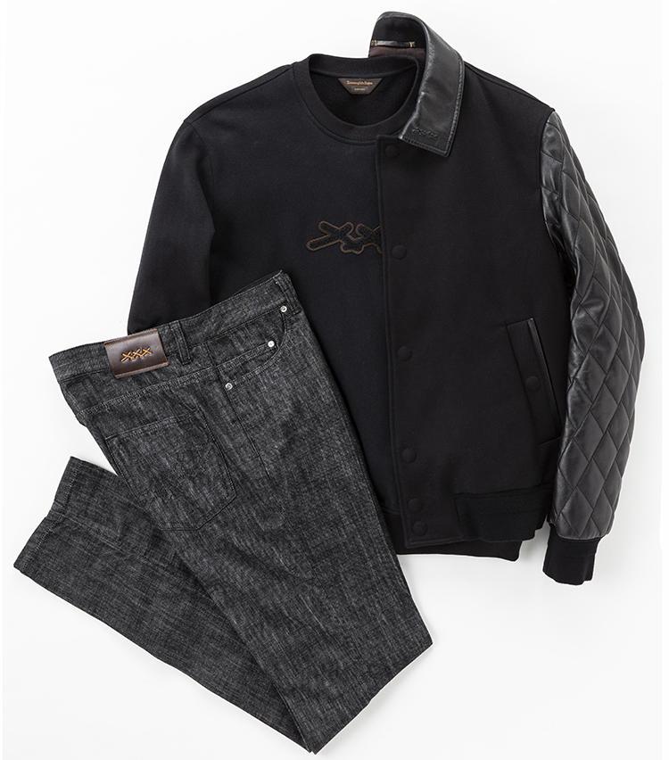 袖にキルティングレザーを使用した、黒のコットンブルゾン48万1000円、ウォッシュ加工を施した黒のコットンデニムジーンズ9万円