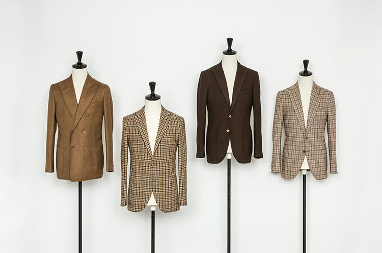 ベージュ〜ブラウン系のジャケットも、チェックの柄ゆきが絶妙! 左・中左・右:8万5320円、中右:5万6160円