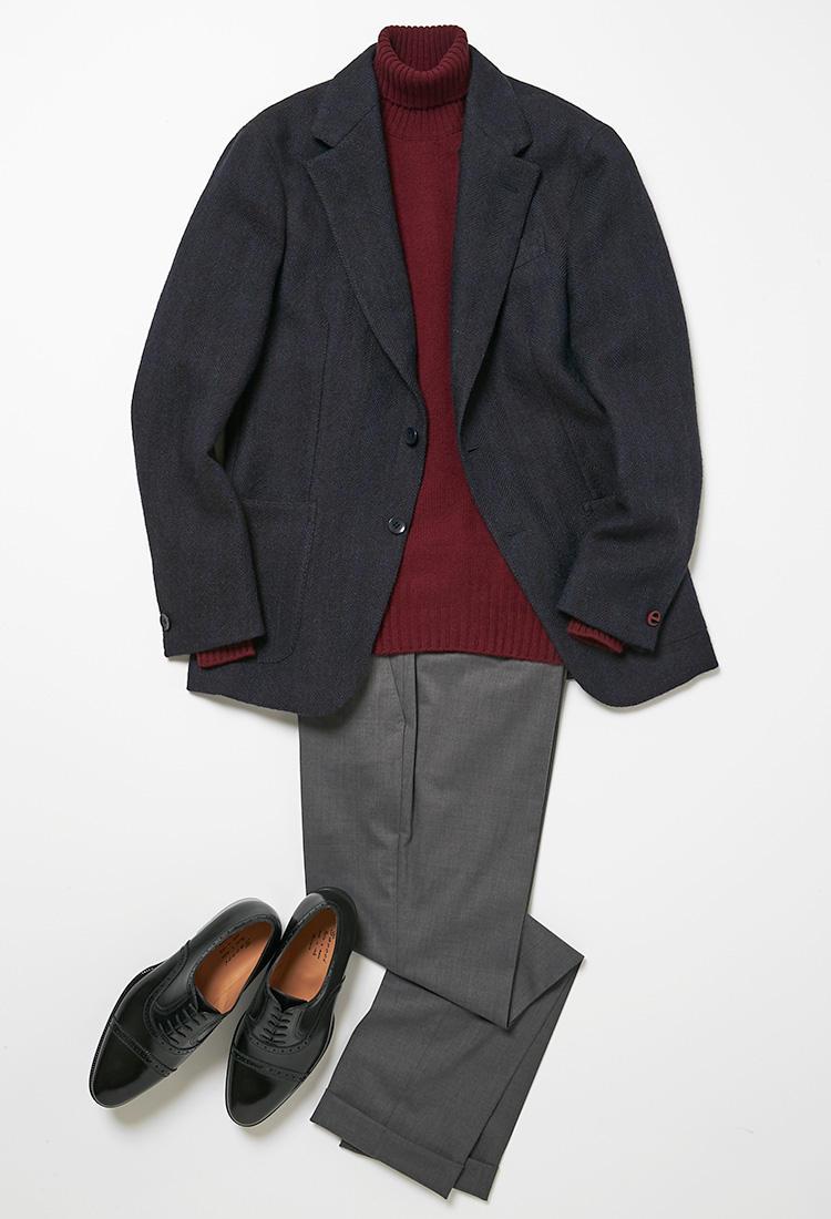 ジャケット×パンツの内勤スタイル