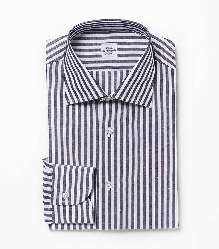 <b>5.マリア サンタンジェロのパープルのストライプシャツ</b><br />1853年にナポリで創業。伝統の仕立て技術を駆使して日本人体型にシルエットを調整したシャツは、もたつきがなくすっきり。青みがかったパープルもありそうでない色だ。2万6000円(ビームス 六本木ヒルズ)