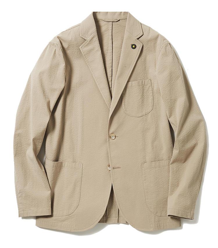 <b>3.ジャンネットのシアサッカージャケット</b><br />清涼感のあるベージュのシアサッカー生地に加えて、パッチポケット仕様がカジュアルなジャケット。4のベスト、5のパンツと共にセットアップとしても着用可能だ。4万5000円(ジェンテ ディ マーレ)