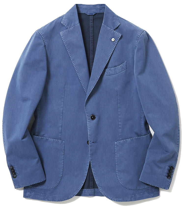 <b>6.L.B.M. 1911のジャージジャケット</b><br />洗いざらしのシャンブレーシャツのように、気楽に羽織れるコットンジャケット。明るすぎない渋めのブルーは派手すぎず、手持ちのワードローブにも馴染みやすい。8万3000円(ジェンテ ディ マーレ)