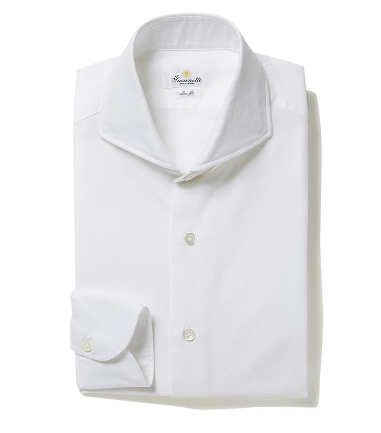 <b>7.ジャンネットのカッタウェイシャツ</b><br />襟が開いたカッタウェイカラーの白シャツ。この襟型だとタイドアップしたときも襟元が詰まりすぎない。クールビズ期間中のノータイがこなれて見えるメリットもある。2万3000円(ジェンテ ディ マーレ)