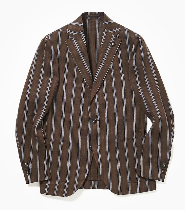 <b>4. ラルディーニのストライプジャケット</b><br />茶のジャケットやスーツは今年のトレンド。こちらのコットンリネンジャケットは、茶×ブルーの定番色ストライプが汎用性高し。紺とグレーに加えてこんな茶のジャケットもあると、ジャケパンスタイルに変化をつけられる。10万3000円(新宿高島屋)
