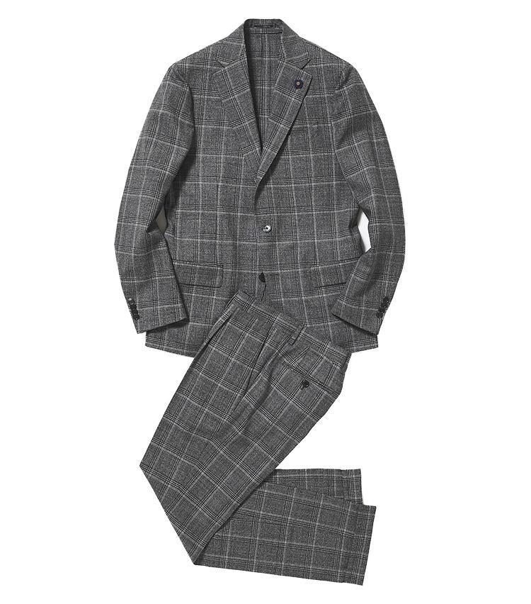 <b>1.ラルディーニのグレンチェックスーツ</b><br />地色と柄色をグレーの濃淡で控えめに構成した、誰にでも着こなしやすいグレンチェック柄スーツ。透け感のある軽やかな生地と仕立ても、初夏の気候にマッチ。15万3000円(阪急メンズ東京)