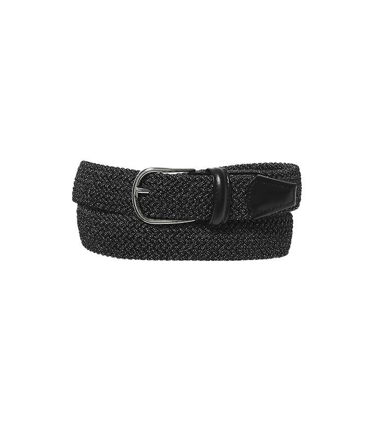 <b>17.アンダーソンズのゴムベルト</b></ br>有名ブランドのベルトも手掛ける16と同じイタリアのメーカー製。ゴムを編んだメッシュベルトは食べ過ぎたり、体型が変化したりしても長く使用できる。1万5000円(阪急メンズ東京)