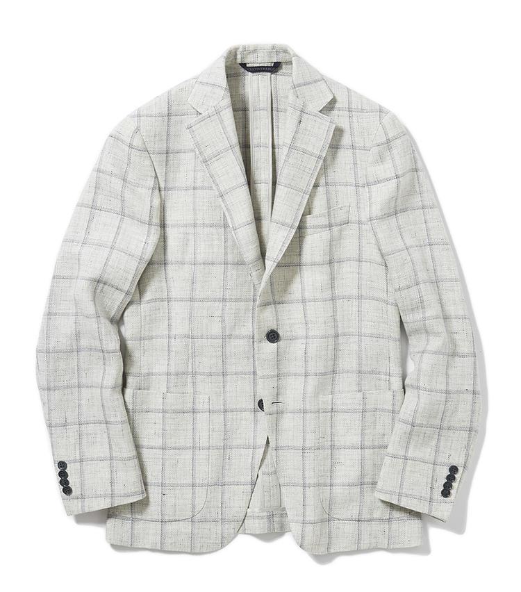 <b>3.ベルヴェストのウインドウペーンジャケット</b><br />軽量ジャケットの先駆的モデル「ジャケット・イン・ザ・ボックス」の新作は、グレーの濃淡で構成された気品あふれるチェック柄。素材はリネンウールで涼しく着られる。21万円(グジ東京)