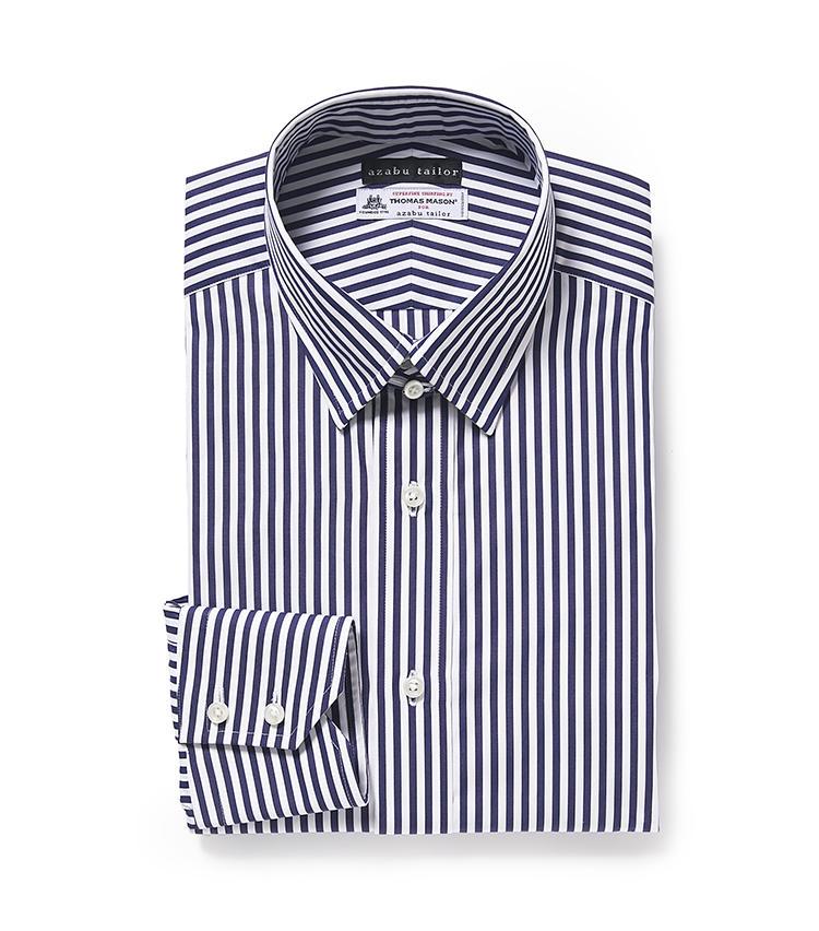 <b>5.麻布テーラーの紺ストライプシャツ</b><br />シャツは7000円から、パターンオーダー可能。採寸した上でフィット感の異なる3型から選べるため、最適サイズが手に入る。こちらのシャツには英国トーマス・メイソン社の高級生地を選択。1万9000円<オーダー価格>(麻布テーラースクエア二子玉川店)