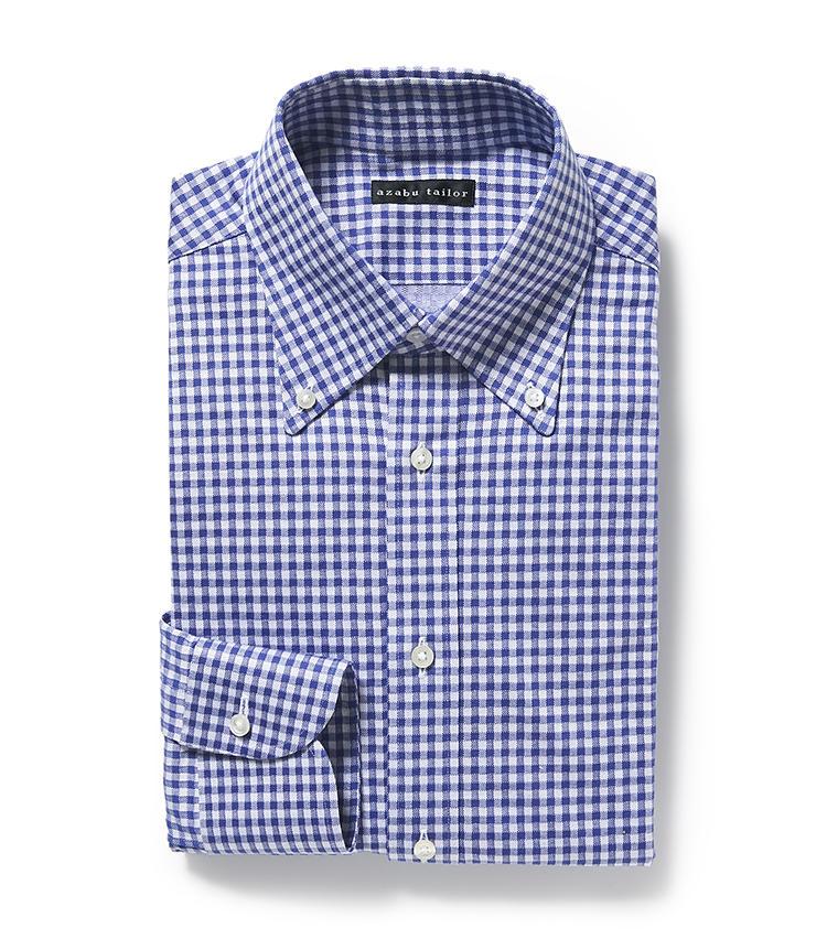 <b>7.麻布テーラーのギンガムチェックシャツ</b><br />ギンガムチェックのボタンダウン仕様といった、ありそうでなかなかないシンプルシャツも、既成品価格でパターンオーダーできる。1万円<オーダー価格>(麻布テーラースクエア二子玉川店)