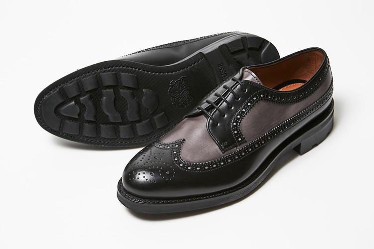 <strong>ロトゥセ</strong><br />質実剛健な作りと遊び心の絶妙なバランスが人気のスペイン靴、ロトゥセ。クラシックな顔立ちのウィングチップのアッパーには、色靴大国スペインらしい、後染めペインティングで大胆な素材ミックスを実現。実用性の高い、オリジナルのラバーソールを装着し、雨の日や長時間の移動も快適でスムーズにこなせる。堅牢なグッドイヤーウエスト製法。7万4000円(横浜髙島屋 シューメゾン オム)