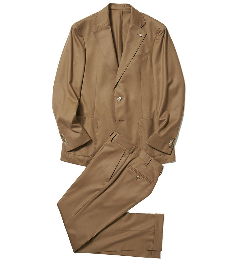 <b>3.ルイジ ビアンキ マントヴァのキャメルスーツ</b/><br />イタリア・ルビアム社が手掛ける最高峰のテーラリングブランド。L.B.M.1911は、このブランドのスポーツライン。生地はイタリアの名門、VBC(ヴィターレ バルベリス カノニコ)社製のウールで、キャメルのトーンが上品。14万9000円(バーニーズ ニューヨーク カスタマーセンター)