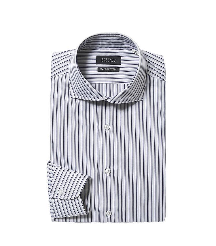<b>8.バーニーズ ニューヨークのネイビーストライプシャツ</b/><br />7、8、9のストライプシャツ3枚は同系色の幅違い。似ているシャツを複数揃えて着回すのもさりげなくお洒落。こちらはネイビー系のオルタネートストライプ。2万1000円(バーニーズ ニューヨーク カスタマーセンター)