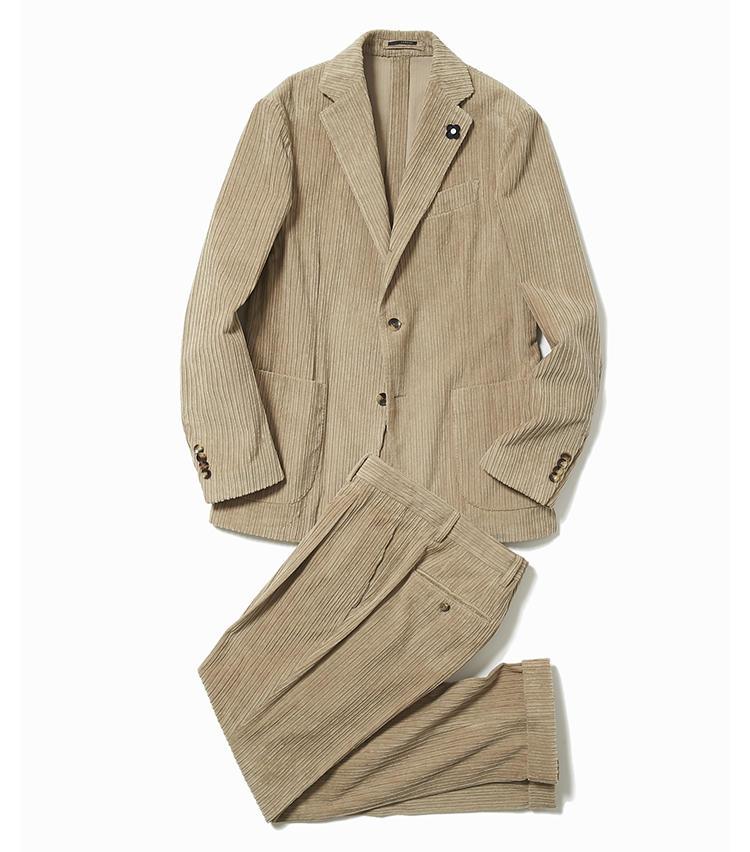 <b>2.ラルディーニのコーデュロイスーツ</b><br />注目素材のコーデュロイのスーツが、ラルディーニからも登場。身体に優しくフィットする着心地だが、ビジネスシーンで通用する端正な見た目は、さすがイタリアの人気スーツファクトリー。13万6000円(ストラスブルゴ)※パンツのみ使用