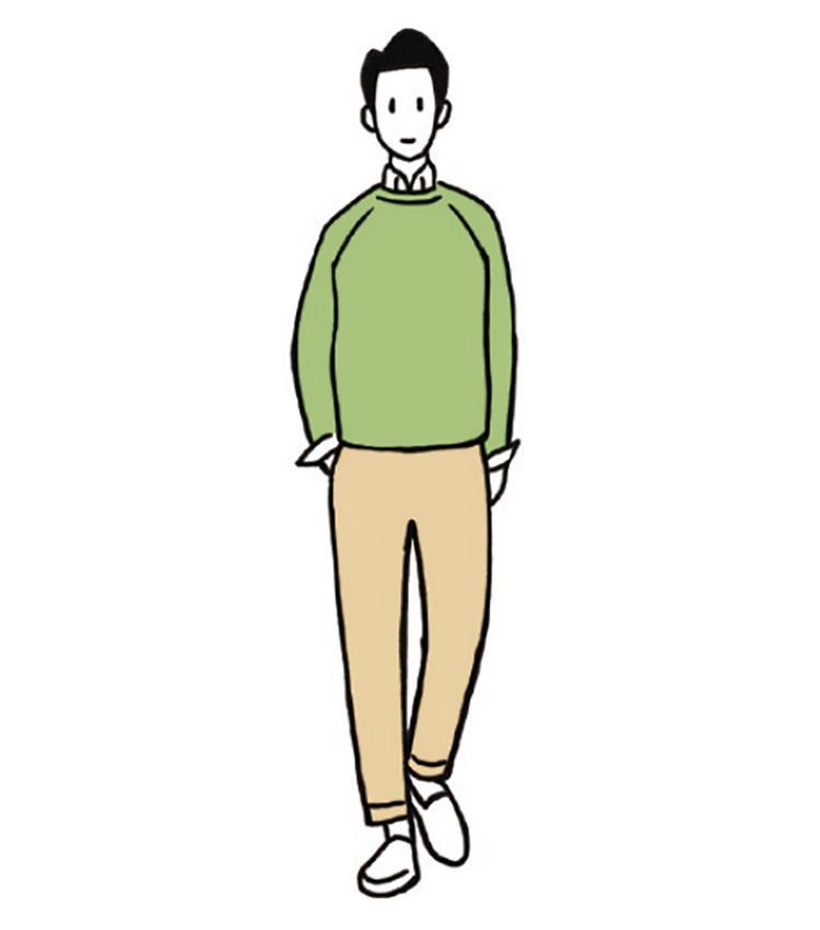 <b>癒しの色×アースカラーでいい人ルックに</b><br>「いわば砂漠の中のオアシスのようなコーデ」(今井さん)。パンツにアースカラーを使い、グリーンの癒しを活かした色合わせだ。白で足元にそよ風のような抜け感を。