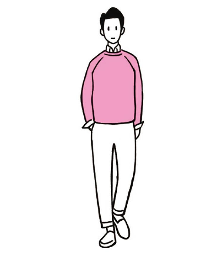 <b>淡いピンク×白は自分も周りも心が落ち着く色合わせ</b><br>ストロベリーシェイクのような淡いピンク×白。好感度が高く、フレッシュなイメージも演出できる。シンプルだが、自分も周りも安心できる色合わせとコーディネートだ。