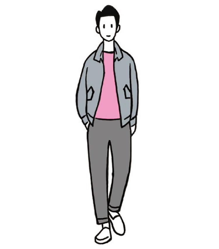 <b>男らしさとマイルドなピンクが巧みに共演</b><br>ピンクのふんわりかわいいを抑えた着こなし。ブルゾンとパンツをグレーで硬派に引き締める。「ピンクのインナーは遊び心あるギンガムチェックもいいですね」(今井さん)
