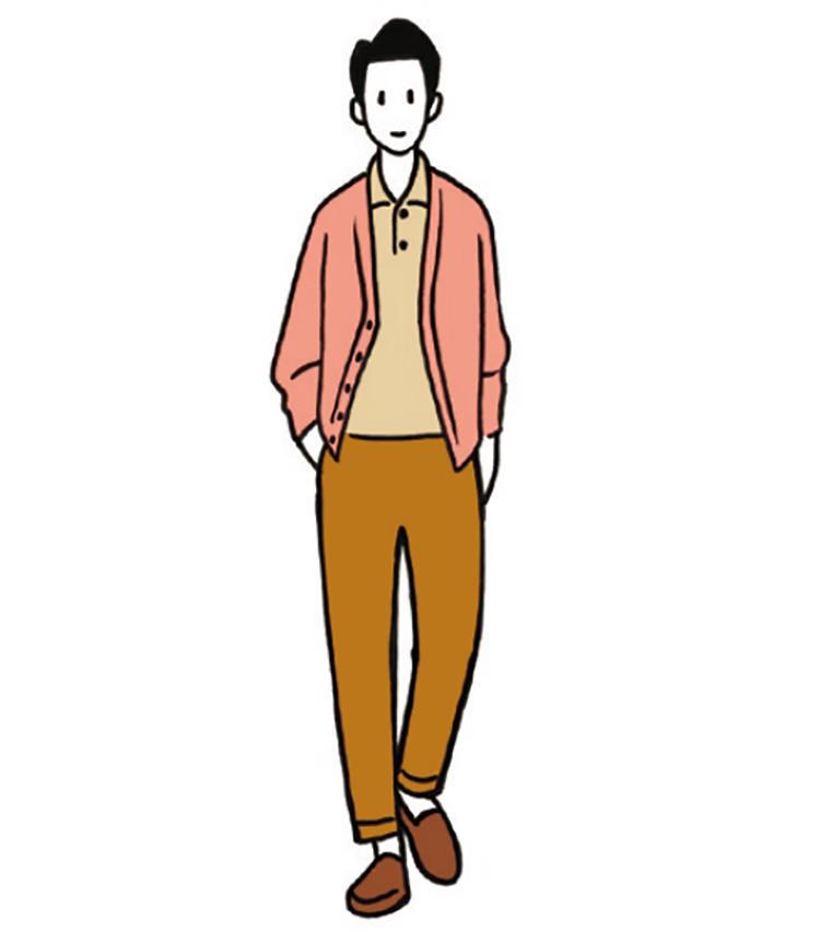 <b>落ち着きと若々しさ相反する要素をともに演出できる</b><br>オレンジがかったサーモンピンクのカーディガンは、落ち着きを感じさせ、穏やかな雰囲気作りにも重宝。ベージュ、ブラウンを合わせると、ピンクの若々しさも強調される。