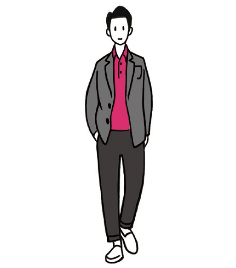 <b>主役のピンクはグレーで手なずけよう</b><br>ビビッドなピンクポロをジャケットのインナーに。黒では主張が強いので、グレージャケットを選ぼう。ビビッドなピンクとケンカせず、装いのキーカラーとなってくれる。