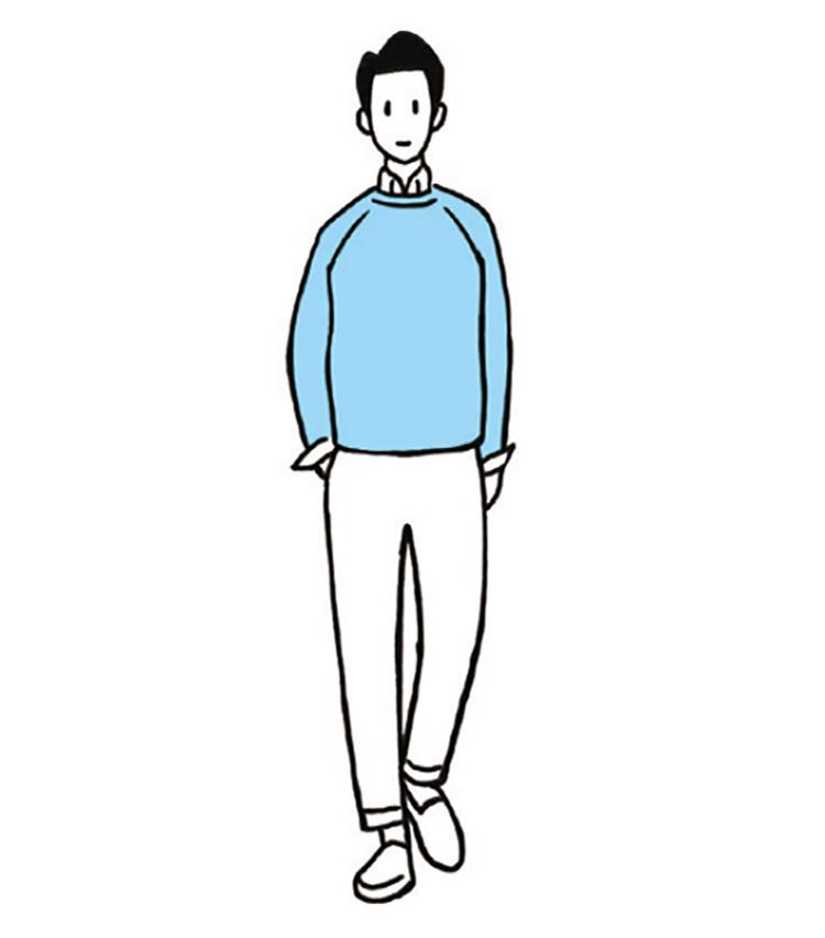 <b>パステル系のブルー×サッパリした白が爽やかコーデのお手本</b><br>「青に白の組み合わせは最強」という今井さん。例えばライトブルーのクルーネックに白シャツをイン。ボトムスもシンプルに白で揃えるだけで、爽やかコーデのお手本に。