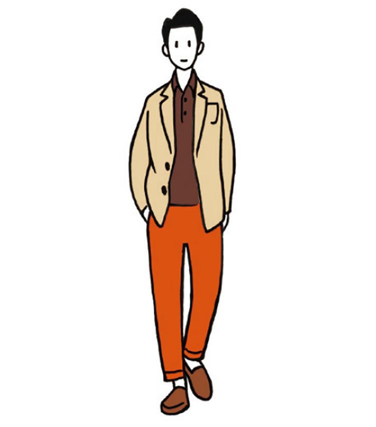 <b>穏やかで洒脱なナチュラルなメリハリ</b><br>テラコッタのパンツを使った洒脱なコーデ。トップスと靴をナチュラルカラーで統一すると、大人っぽい穏やかなメリハリが生まれる。テラコッタパンツも悪目立ちしない。