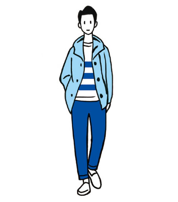 <b>成功率100%!絶対に失敗しない青の濃淡配色</b><br>ライトブルーのショートコート、青と白のボーダートップス、濃いめのブルーパンツで、爽やかかつ知的な印象に。同系色の濃淡コーデは失敗しにくく、青は鉄板でお洒落。